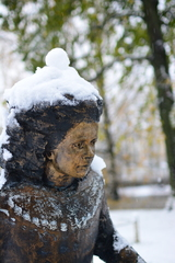 Statue of Lydia Koidula snow winter statue tartu