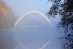 Bridge in fog bridge fog tartu morning